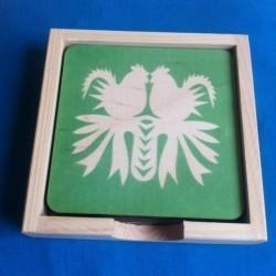 podkładka koguty kurpiowskie biało-zielone
