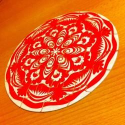 puzzle kurpiowska wycinanka czerwona