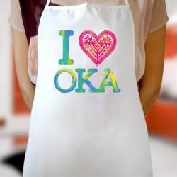 fartuch I love OKA kolorowy