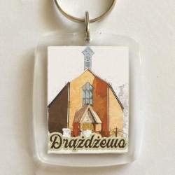 brelok Drążdżewo kościół akwarela